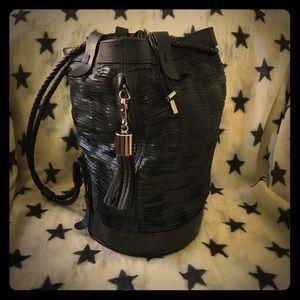 Vic Matie Black Leather Bucket Bag